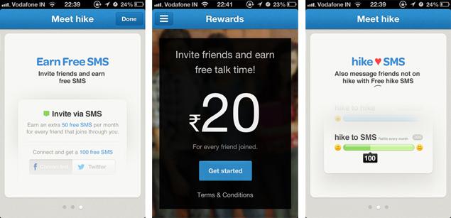 Hike  mobile messagin application reward point screen