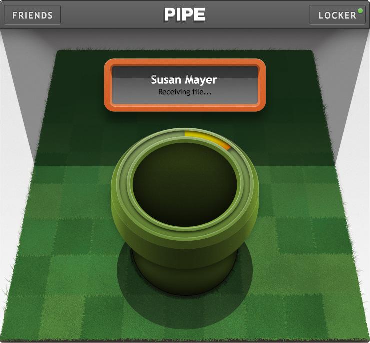 File sharing facebook app pipe - receiving file