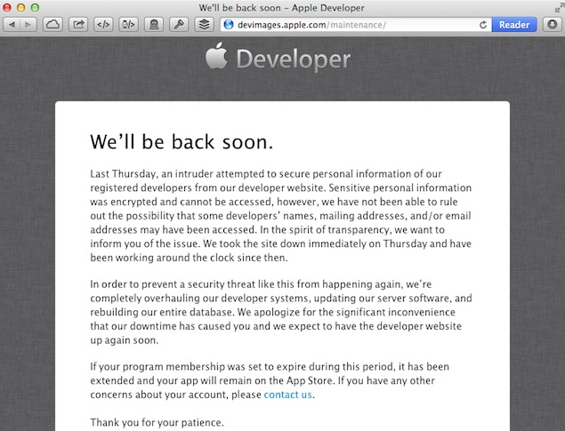 Apple edeveloper centre maintenance