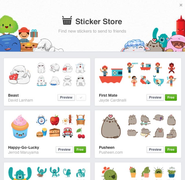 Facebook stickers store