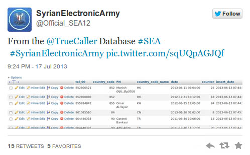 Syrian Electronic Army tweet