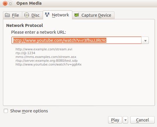 VLC Network URL Dialog Box