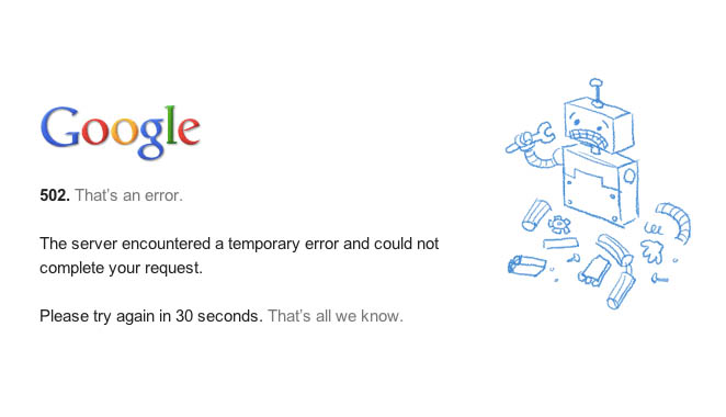 Google 502 error