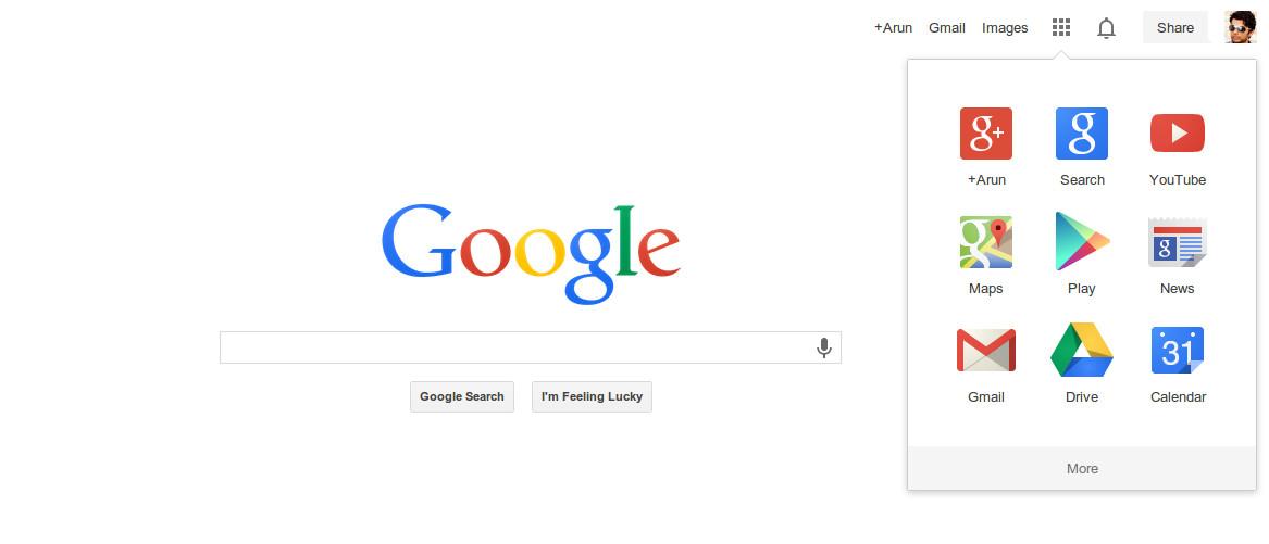 New Google Navigation Menu