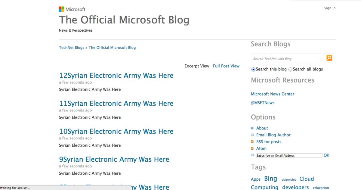 SEA - Microsoft blog hack
