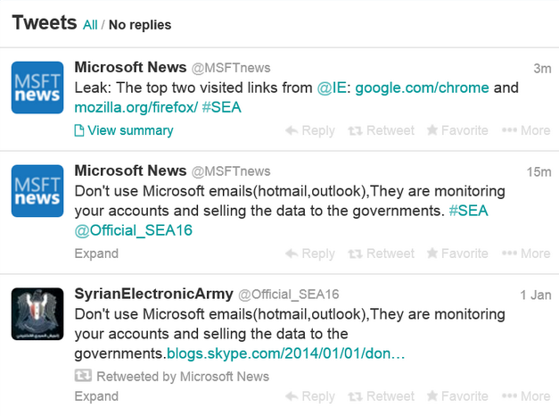 Syrian Electronic Army - Microsoft hack tweets