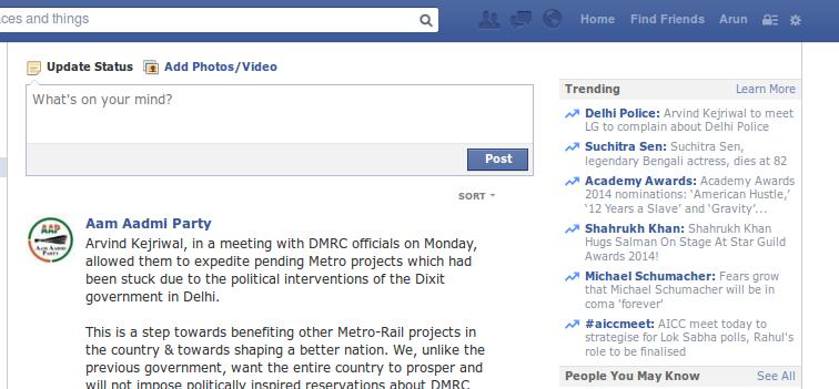 facebook - trending topics