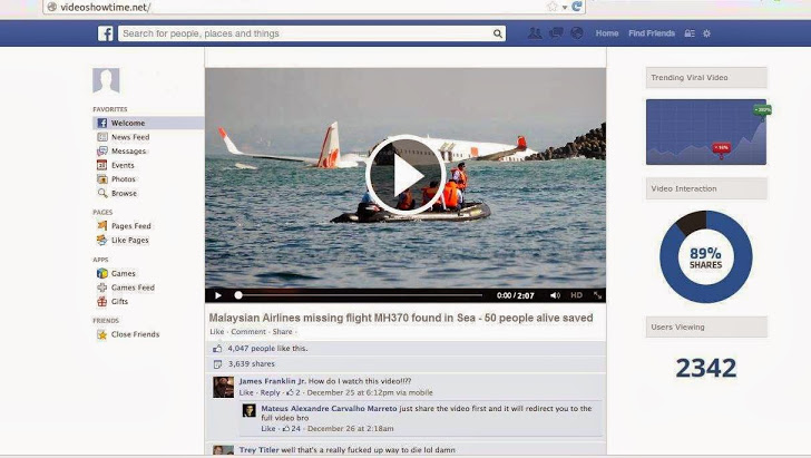 Malaysian Airlines flight MH370 facebook malware