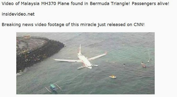 Malaysian Airlines flight MH370 scam