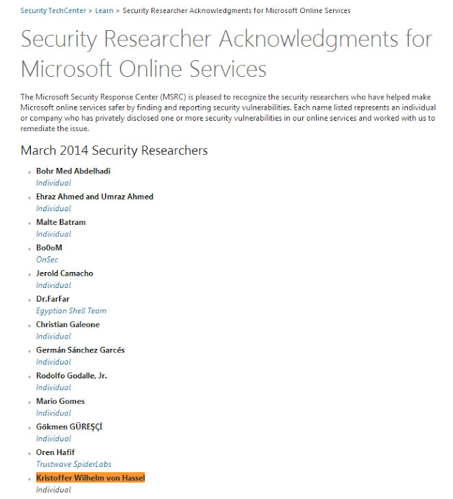 Kristoffer Von Hassel listed as security researcher by microsoft