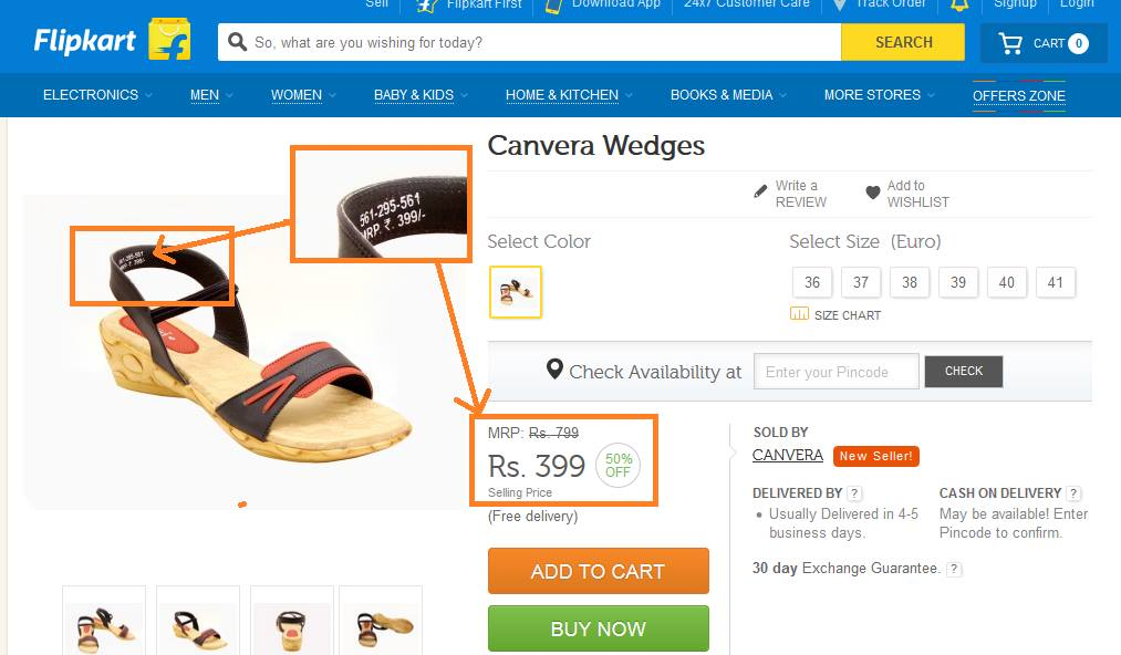 Flipkart fake discount